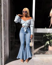 Denim High Waist Long Flare Pants Bodycon Jeans MOF-5088