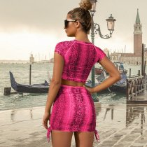 Snake Skin Print Short Sleeve Mini Skirt Sets YF-9369
