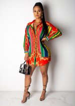 Retro Print Turndown Collar Full Sleeve Blouse Shirt MN-3082