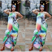 Colored Snake Skin Print Sexy Halter Backless Long Dress MEI-9028
