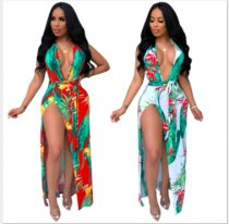 Floral Print Deep V Neck Halter High Split Maxi Dress NK-8395