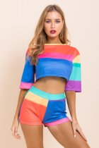 Casual Half Sleeve Crop Top Shorts Two Piece Suits LD-98005
