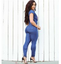 Embroidered Tight Denim Jumpsuit Large Size SMR-8933