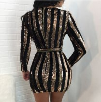 Sequin Party Mini Autumn Bodycon Dress OSM-5209