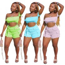 Sexy Off Shoulder Crop Tops Shorts Bodycon 2 Piece Set CH-8016