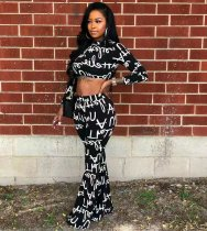 Letter Print Long Sleeve Flare Pants Two Piece Suits LDS-3164