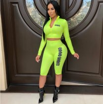 Fluorescence Green Crop Tops Knee Length Pants Set CHY-1088