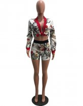 Printed Jacket Tops And Shorts Set OMY-5036