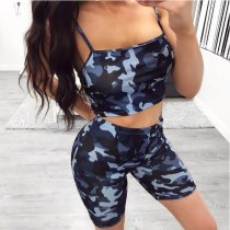 Blue Camouflage Printed Strapless Sporty Suits ASL-6019