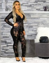 See Through Black Jumpsuit NY-8522