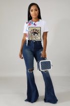 Denim Trousers Ripped Holes Flares Jeans LX-8908