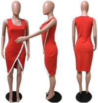 Red Split Bodycon Midi Tank Dress OM-1004