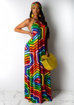 Rainow Striped Halter Backless Bohemia Maxi Dresses AIL-049