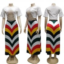 Fashion Colorful Stripes Pleated Long Maxi Skirt CY-1882