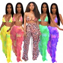 Sexy Ruffles Printed Bra Tops Long Pants 2 Piece Sets SH-3592