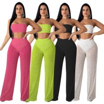 Sexy Knitting Hollow Out Strapless Wide Leg Pants 2 Piece Sets YF-9393
