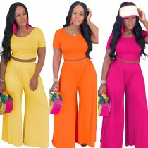 Solid O Neck Short Sleeve Tops Long Pants 2 Piece Sets WY-6582
