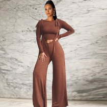 Solid Long Sleeve Tee Top Jumpsuits Pants Suit 2 Pieces FNN-8288