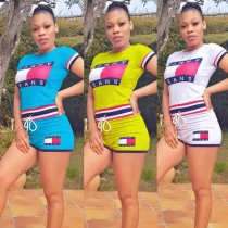 Letter Print Tracksuit Casual Short Two Piece Sets CH-8047