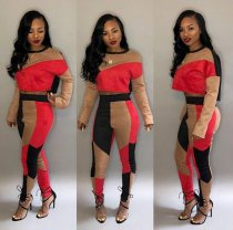 Red Patchwork 2pcs Crop Tops And Pants Set SH-3449