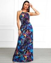 Sexy Printed Halter Backless Slim Maxi Dresses QY-5100