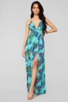 Sexy Printed Strappy V Neck Backless Split Maxi Dress BER-1838