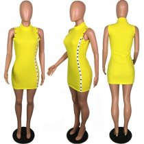 Yellow Sleeveless Button Decoration Bodycon Dress PIN-8258