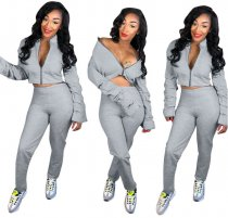 Gray Sexy Puff Sleeves Sporty Sets Two Pieces LP-6101