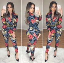 Floral Printed Jacket Tops And Pants 2 Piece Outfit WSM-5038