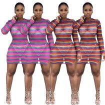 Colorful Striped Mesh See Through Split Club Dress LDS-3153