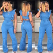Sexy Denim Ruffles Backless Jeans Jumpsuits MOS-912