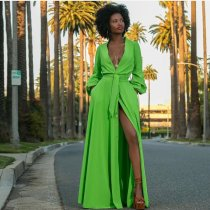 Elegant Lantern Sleeve V Neck Button Up Belted Maxi Dress MTY-6206