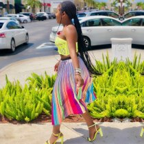 Colorful Striped Big Swing Pleated Long Skirt YD-8094