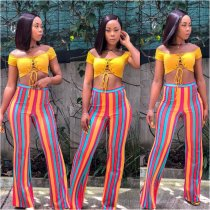 Colorful Striped Long Flare Pants ORY-5047