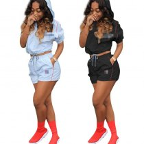Casual Hooded Shorts Two Piece Set MEM-8191