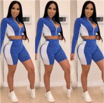 Geometric Print Zipper Crop Tops And Shorts Set CHY-1098