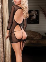 Black Gauze Perspective Long Sleeved Backless Lingerie