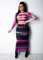 Sexy Printed Mesh Full Sleeve Long Skirt Set OSM-3255