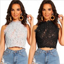 Sexy Sleeveless Lace Crop Tops ZS-0186
