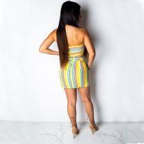 Sexy Striped Strapless Bow Tie Two Piece Mini Skirt Set DAI-8142