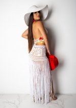Sexy Crochet Hater Crop Top Tassel Long Skirt Set LA-3112