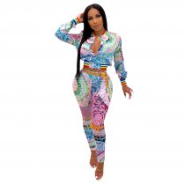 Casual Printed Jacket Top And Pants Two Piece Sets TE-3831