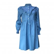Long Sleeve Ruffles Casual Loose Denim Dress OD-006