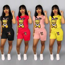 Plus Size Cartoon Print Shorts 2 Piece Set QY-5090