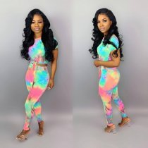 Printed Crop Top Long Pants Two Piece Sets OJS-9096
