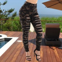 Camouflage Print Ripped Holes Casual Long Pants LX-8907