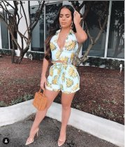 Sexy Printed V Neck Backless Two Piece Shorts Suit YIM-8009