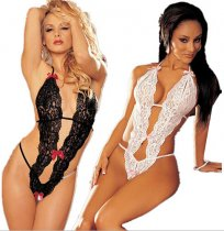 Plunge Neck Lace One Piece Teddy Lingerie FQQ-0085