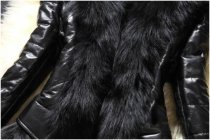 Plus Size Black Faux Fur PU Short Jacket HHMY-321