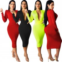 Solid Deep V Neck Long Sleeve Sexy Slim Midi Dress LUO-6218